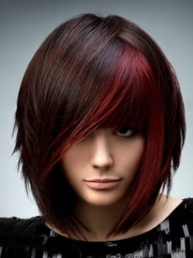Medium Dark Hair with Red Highlights
